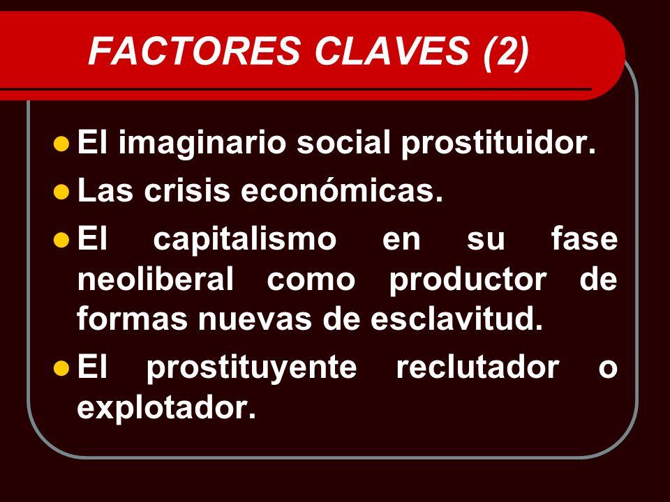 FACTORES CLAVES (2) El imaginario social prostituidor. Las crisis económicas. El capitalismo en su fase neoliberal como productor de formas nuevas de