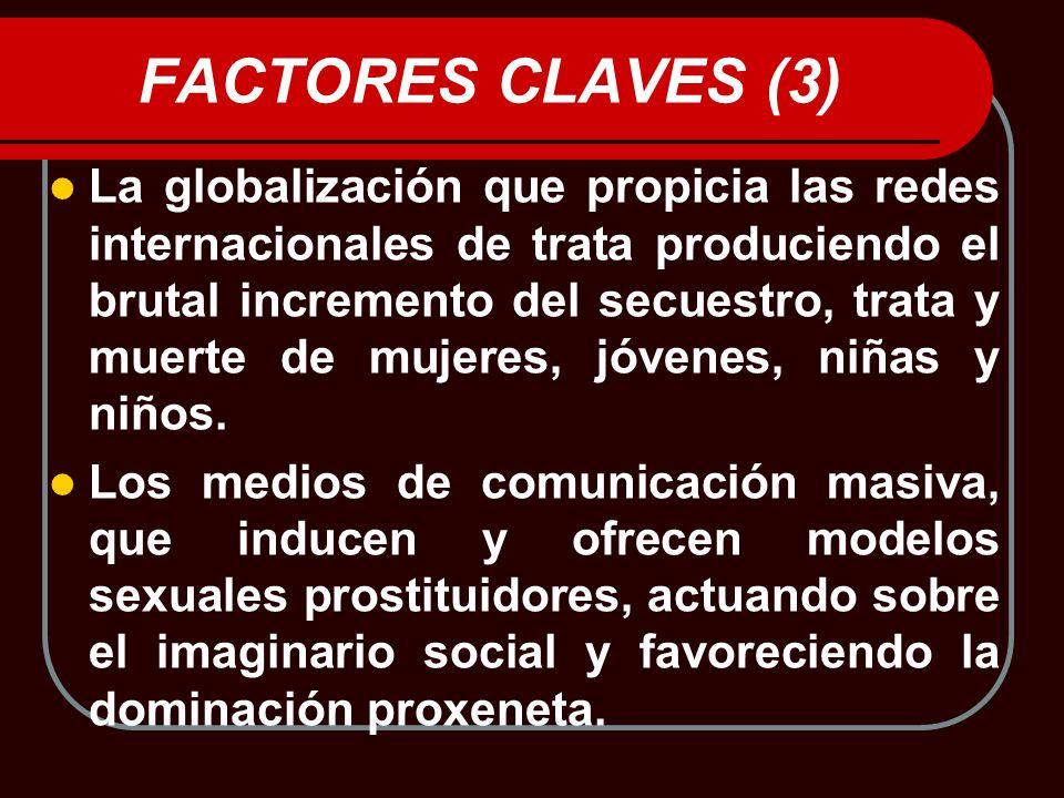 FACTORES CLAVES (3) La globalización que propicia las redes internacionales de trata produciendo el brutal incremento del secuestro, trata y muerte de