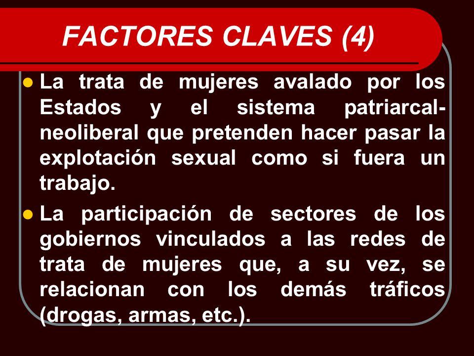 FACTORES CLAVES (4) La trata de mujeres avalado por los Estados y el sistema patriarcal- neoliberal que pretenden hacer pasar la explotación sexual co