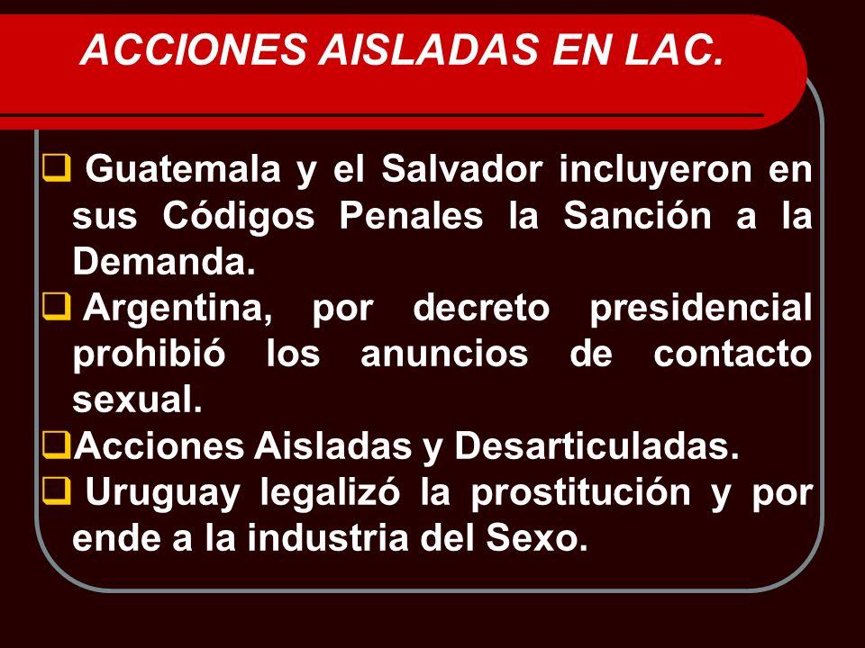 ACCIONES AISLADAS EN LAC. Guatemala y el Salvador incluyeron en sus Códigos Penales la Sanción a la Demanda. Argentina, por decreto presidencial prohi
