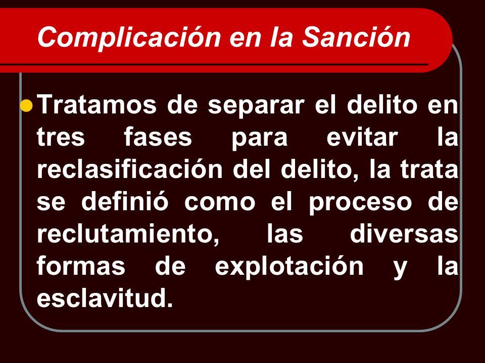 Complicación en la Sanción Tratamos de separar el delito en tres fases para evitar la reclasificación del delito, la trata se definió como el proceso