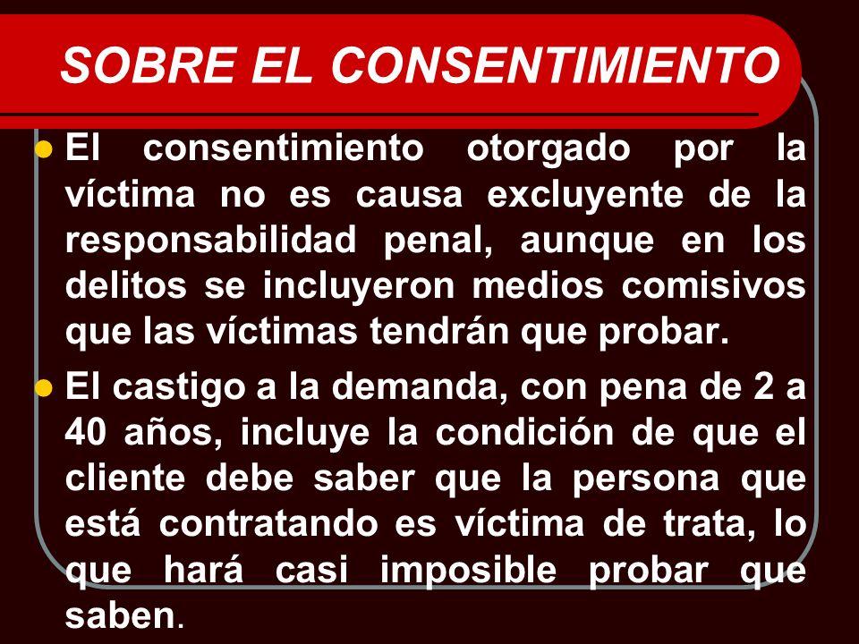 SOBRE EL CONSENTIMIENTO El consentimiento otorgado por la víctima no es causa excluyente de la responsabilidad penal, aunque en los delitos se incluye