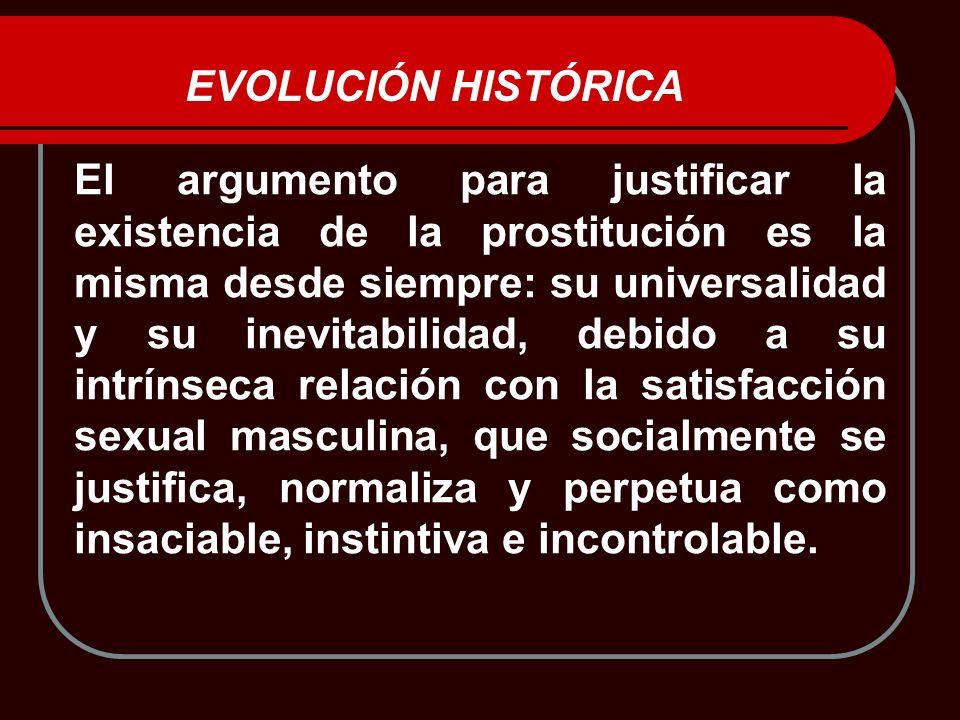 EVOLUCIÓN HISTÓRICA El argumento para justificar la existencia de la prostitución es la misma desde siempre: su universalidad y su inevitabilidad, deb