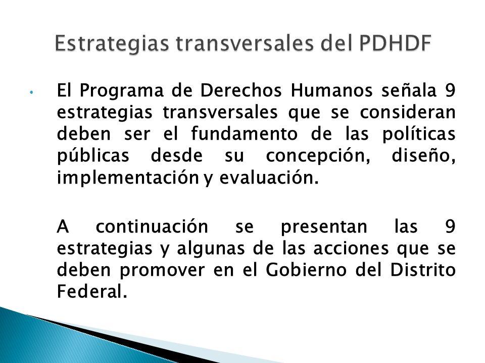 El Programa de Derechos Humanos señala 9 estrategias transversales que se consideran deben ser el fundamento de las políticas públicas desde su concep