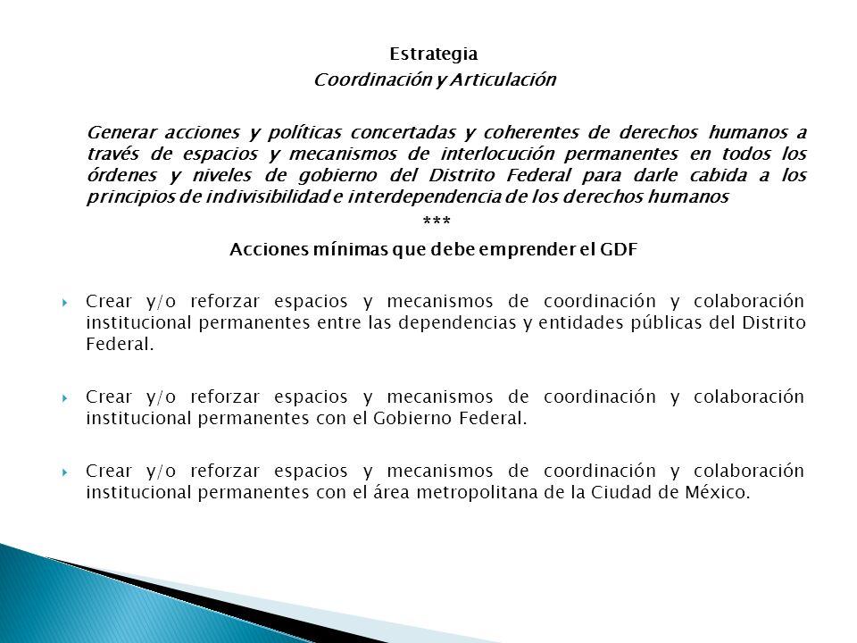 Estrategia Coordinación y Articulación Generar acciones y políticas concertadas y coherentes de derechos humanos a través de espacios y mecanismos de
