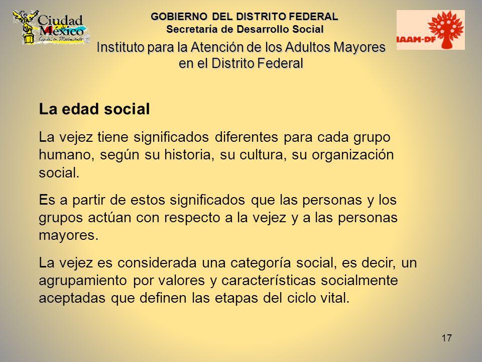 18 La edad social (2) Las personas adultas mayores forman parte de una sociedad que necesita de ellas, por lo que su participación, opiniones y decisiones son fundamentales para el desarrollo de la misma.