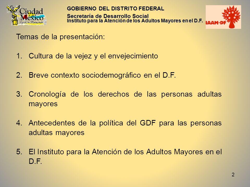 2 GOBIERNO DEL DISTRITO FEDERAL Secretaría de Desarrollo Social Instituto para la Atención de los Adultos Mayores en el D.F. Temas de la presentación: