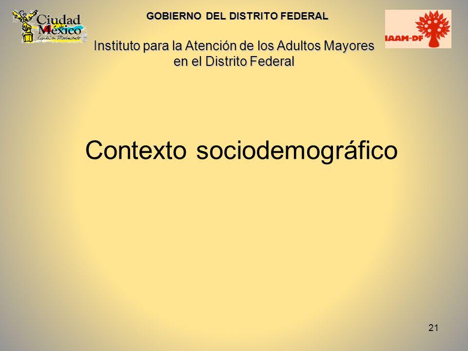 21 Contexto sociodemográfico GOBIERNO DEL DISTRITO FEDERAL Instituto para la Atención de los Adultos Mayores en el Distrito Federal