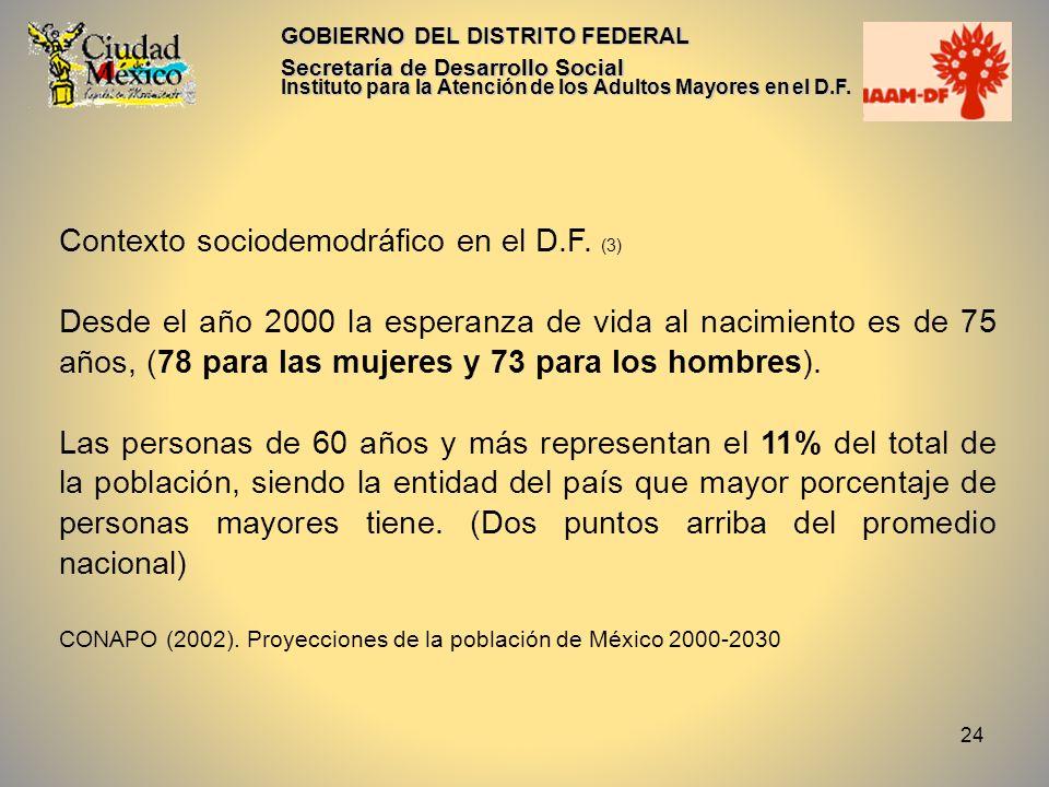24 GOBIERNO DEL DISTRITO FEDERAL Secretaría de Desarrollo Social Instituto para la Atención de los Adultos Mayores en el D.F. Contexto sociodemodráfic