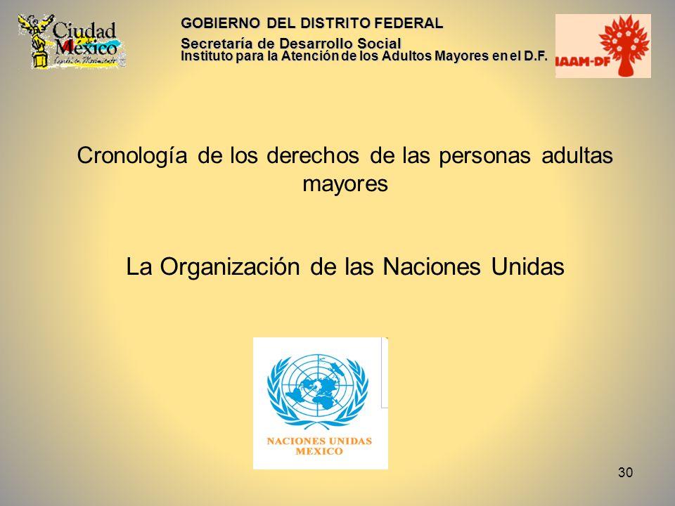 31 GOBIERNO DEL DISTRITO FEDERAL Cronología de los derechos de las personas adultas mayores La ONU es la responsable de analizar la situación del envejecimiento de la población a nivel mundial y la que enfrentan las personas mayores.