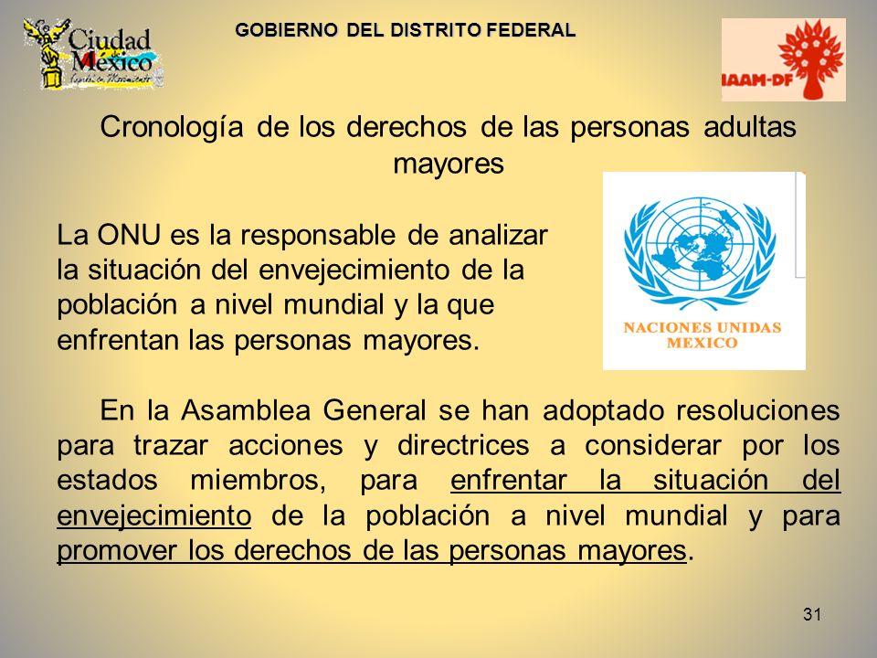 32 GOBIERNO DEL DISTRITO FEDERAL Cronología: En 1956 la Organización de las Naciones Unidas adopta el criterio de que se es adulto mayor a partir de los 60 años.