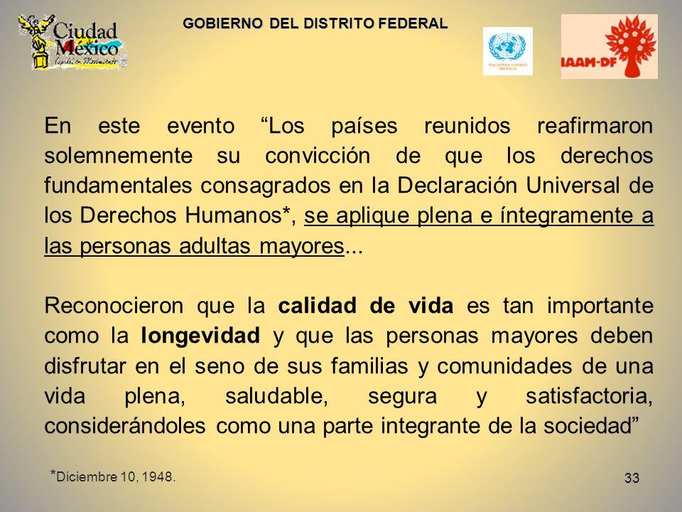 33 GOBIERNO DEL DISTRITO FEDERAL En este evento Los países reunidos reafirmaron solemnemente su convicción de que los derechos fundamentales consagrad