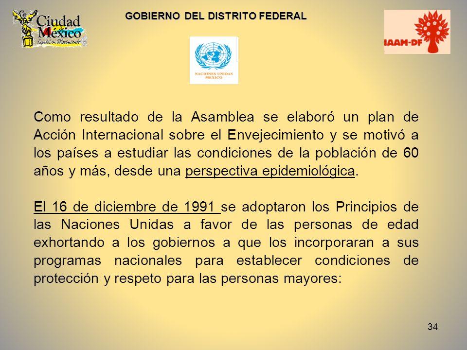 34 GOBIERNO DEL DISTRITO FEDERAL Como resultado de la Asamblea se elaboró un plan de Acción Internacional sobre el Envejecimiento y se motivó a los pa