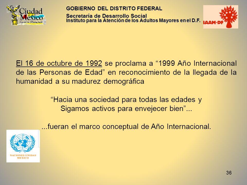 36 GOBIERNO DEL DISTRITO FEDERAL Secretaría de Desarrollo Social Instituto para la Atención de los Adultos Mayores en el D.F. El 16 de octubre de 1992