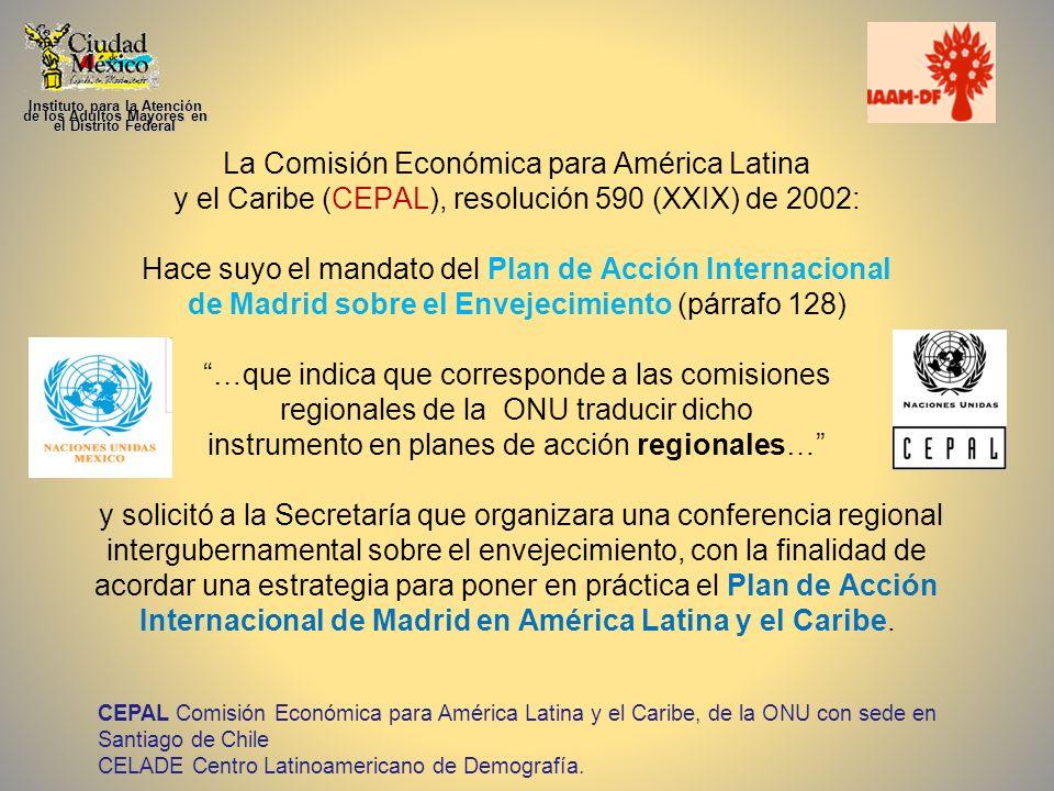 La Comisión Económica para América Latina y el Caribe (CEPAL), resolución 590 (XXIX) de 2002: Hace suyo el mandato del Plan de Acción Internacional de