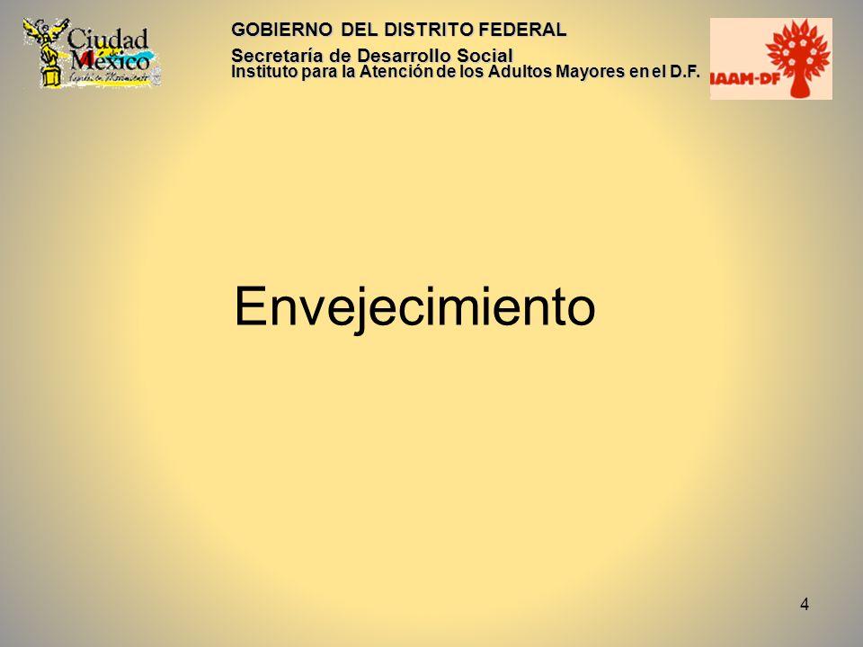 4 GOBIERNO DEL DISTRITO FEDERAL Secretaría de Desarrollo Social Instituto para la Atención de los Adultos Mayores en el D.F. Envejecimiento