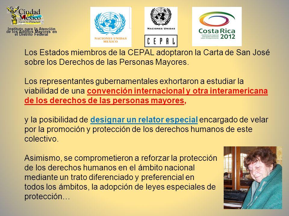 Los Estados miembros de la CEPAL adoptaron la Carta de San José sobre los Derechos de las Personas Mayores. Los representantes gubernamentales exhorta