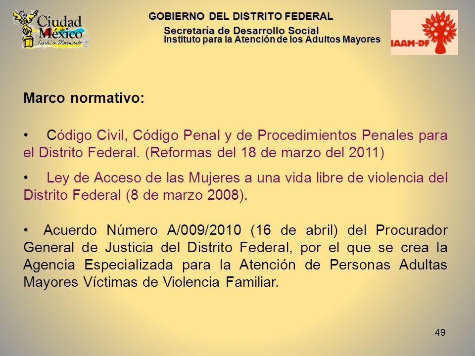 49 GOBIERNO DEL DISTRITO FEDERAL Secretaría de Desarrollo Social Instituto para la Atención de los Adultos Mayores Marco normativo: Código Civil, Códi