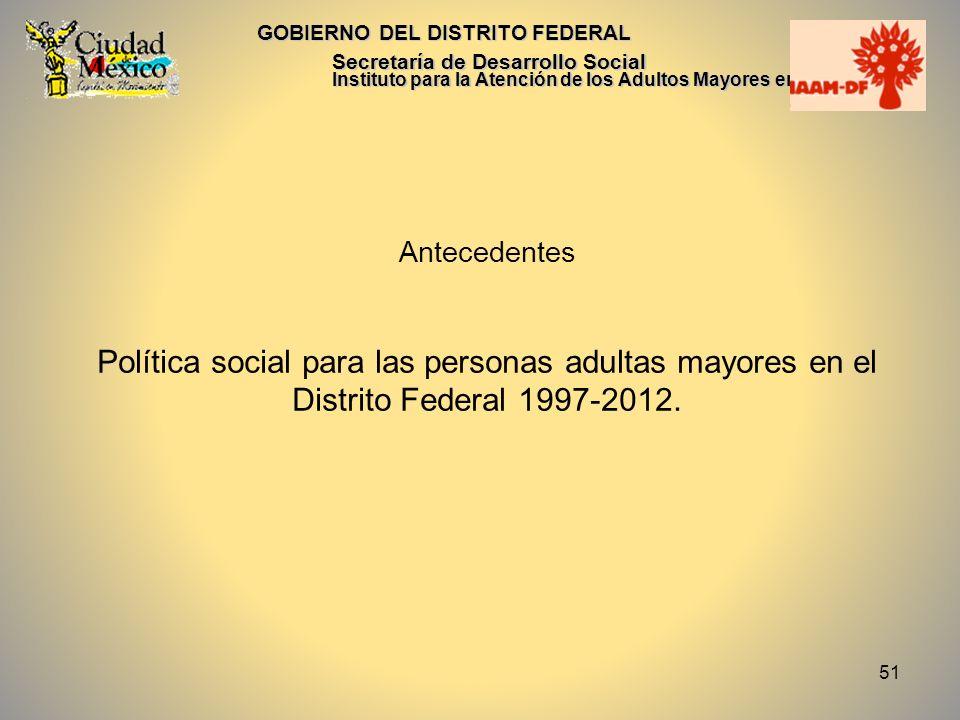 51 GOBIERNO DEL DISTRITO FEDERAL Secretaría de Desarrollo Social Instituto para la Atención de los Adultos Mayores en el D.F. Antecedentes Política so