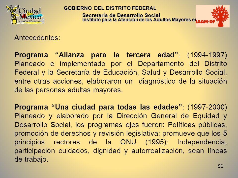 52 GOBIERNO DEL DISTRITO FEDERAL Secretaría de Desarrollo Social Instituto para la Atención de los Adultos Mayores en el D.F. Antecedentes: Programa A