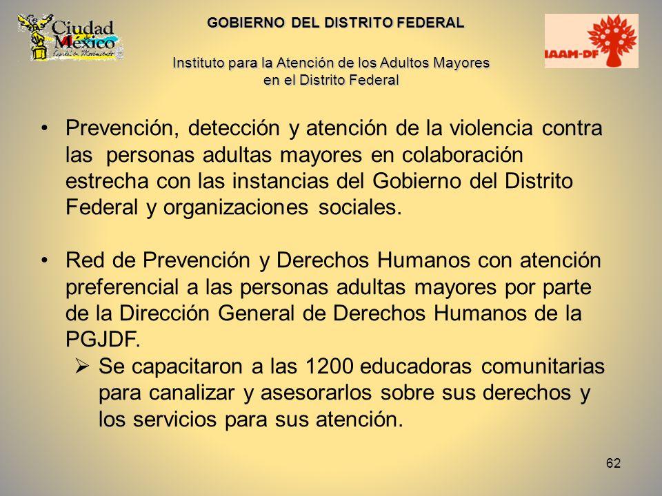 63 GOBIERNO DEL DISTRITO FEDERAL Procuraduría General de Justicia del DF La Red de Prevención y Derechos Humanos con atención preferencial a las personas adultas mayores por parte de la Dirección General de Derechos Humanos.