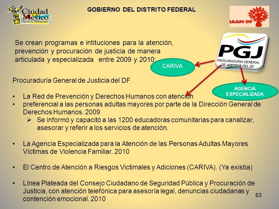 63 GOBIERNO DEL DISTRITO FEDERAL Procuraduría General de Justicia del DF La Red de Prevención y Derechos Humanos con atención preferencial a las perso