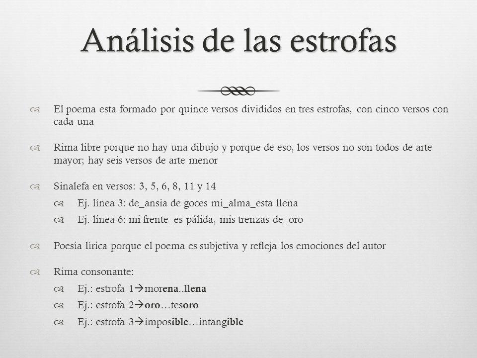 Análisis de las estrofas El poema esta formado por quince versos divididos en tres estrofas, con cinco versos concada una Rima libre porque no hay una