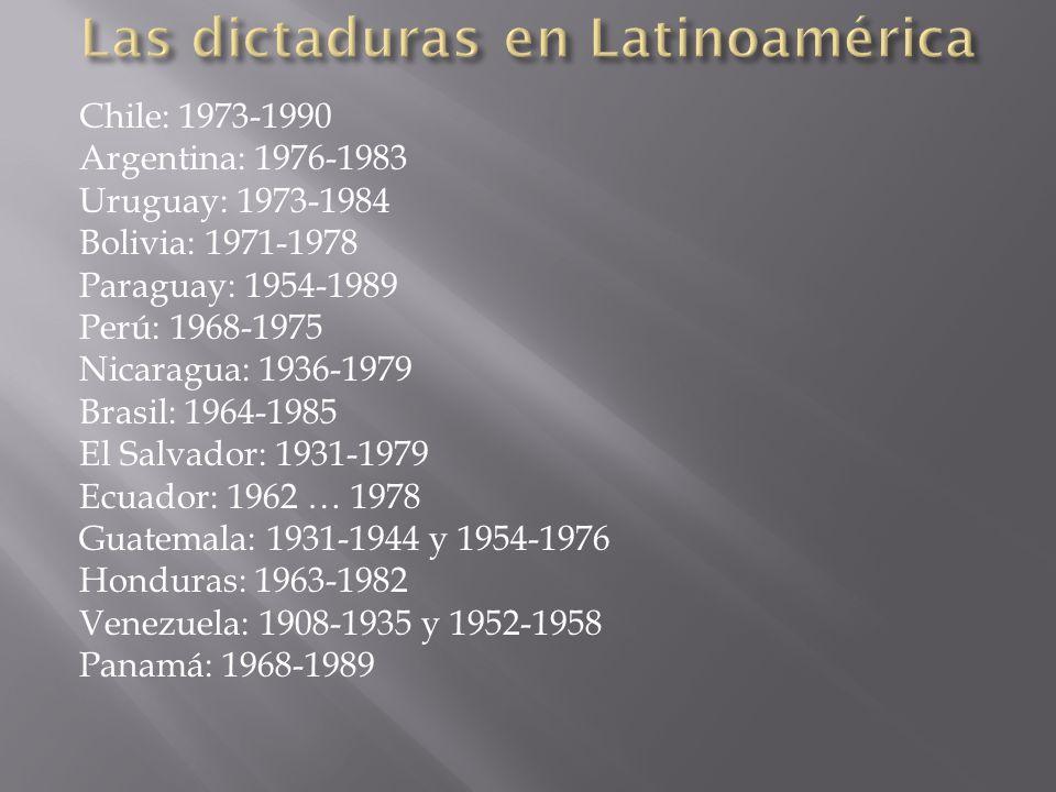 Chile: 1973-1990 Argentina: 1976-1983 Uruguay: 1973-1984 Bolivia: 1971-1978 Paraguay: 1954-1989 Perú: 1968-1975 Nicaragua: 1936-1979 Brasil: 1964-1985
