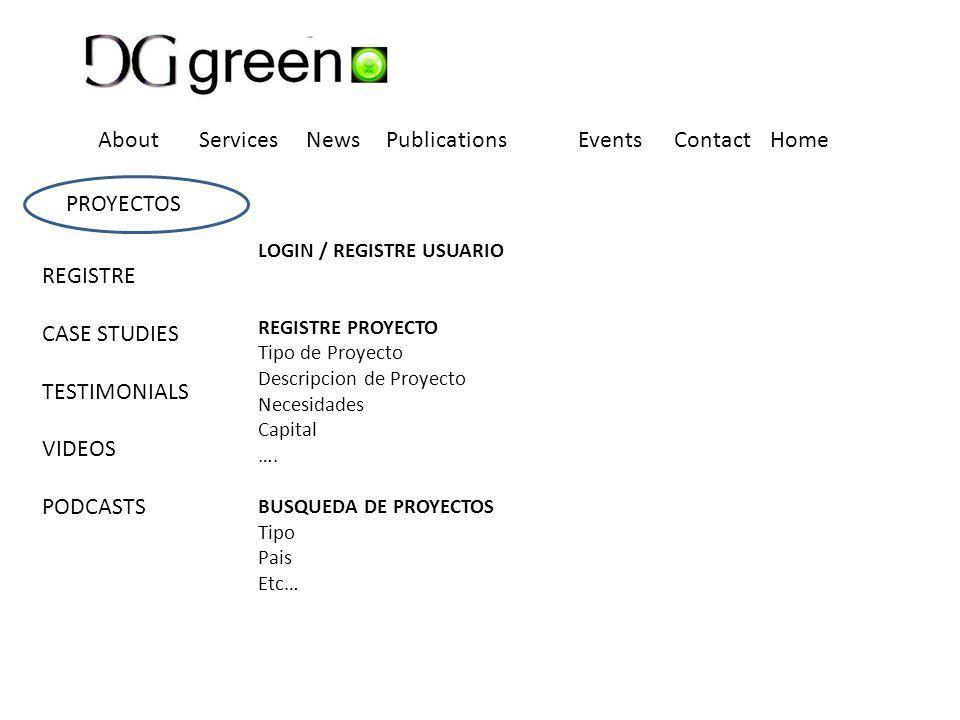 LOGIN / REGISTRE USUARIO REGISTRE PROYECTO Tipo de Proyecto Descripcion de Proyecto Necesidades Capital ….