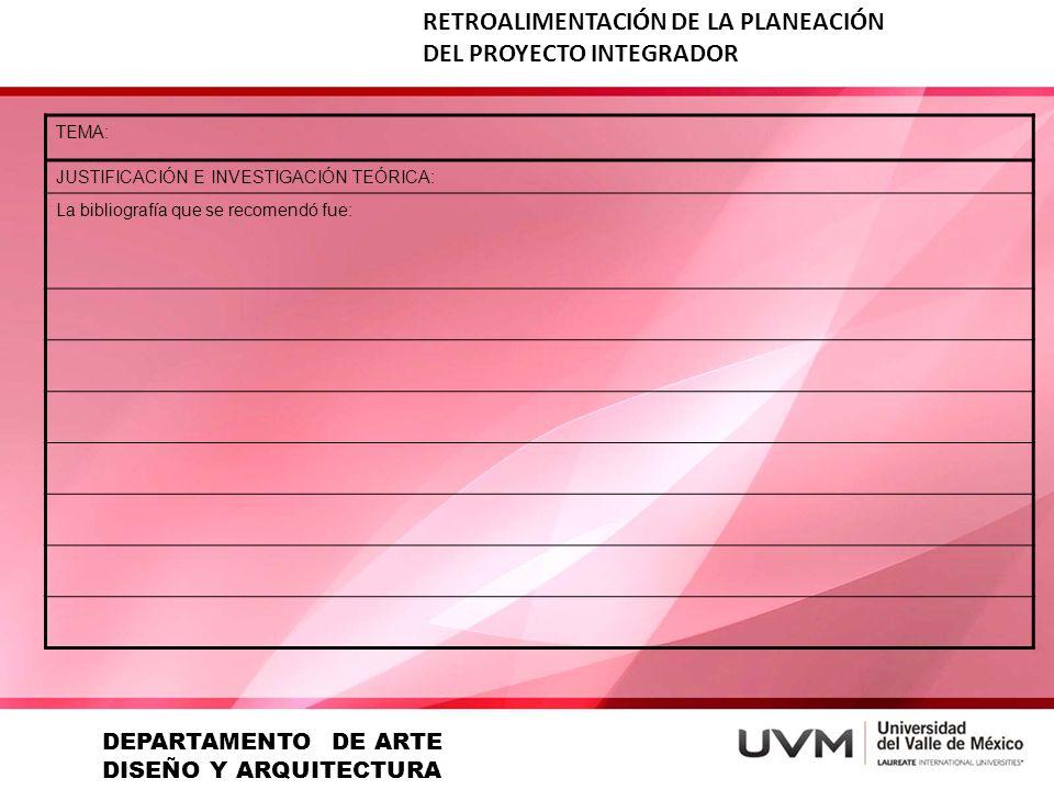 RETROALIMENTACIÓN DE LA PLANEACIÓN DEL PROYECTO INTEGRADOR TEMA: JUSTIFICACIÓN E INVESTIGACIÓN TEÓRICA: La bibliografía que se recomendó fue: DEPARTAM