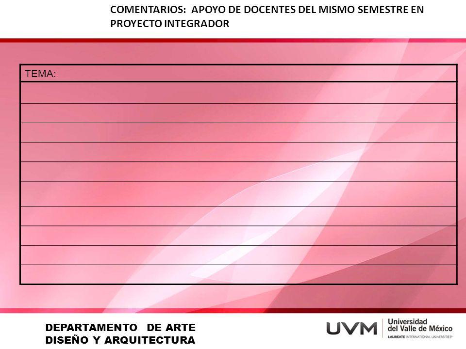 COMENTARIOS: APOYO DE DOCENTES DEL MISMO SEMESTRE EN PROYECTO INTEGRADOR TEMA: DEPARTAMENTO DE ARTE DISEÑO Y ARQUITECTURA