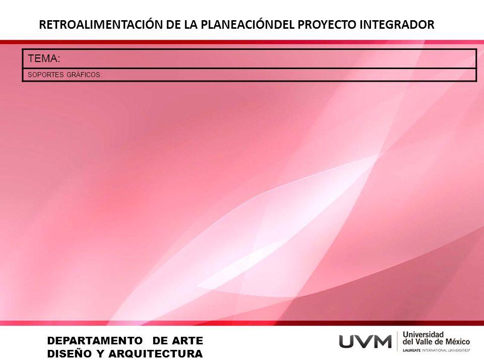 RETROALIMENTACIÓN DE LA PLANEACIÓNDEL PROYECTO INTEGRADOR TEMA: SOPORTES GRÁFICOS: DEPARTAMENTO DE ARTE DISEÑO Y ARQUITECTURA
