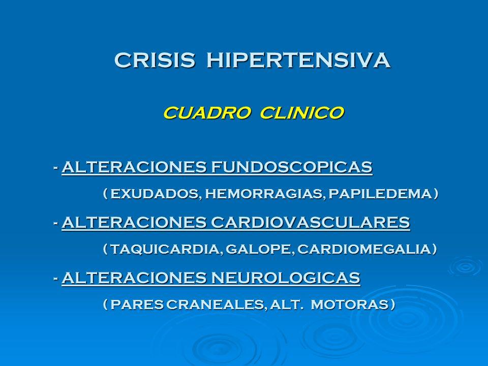 CRISIS HIPERTENSIVA CUADRO CLINICO - ALTERACIONES FUNDOSCOPICAS ( EXUDADOS, HEMORRAGIAS, PAPILEDEMA ) - ALTERACIONES CARDIOVASCULARES ( TAQUICARDIA, G