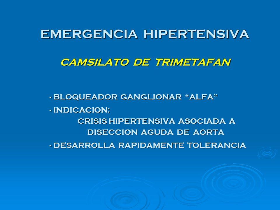 EMERGENCIA HIPERTENSIVA CAMSILATO DE TRIMETAFAN - BLOQUEADOR GANGLIONAR ALFA - INDICACION: CRISIS HIPERTENSIVA ASOCIADA A DISECCION AGUDA DE AORTA DIS
