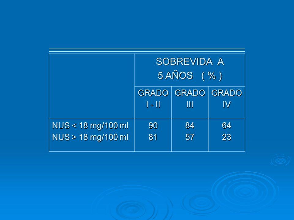 SOBREVIDA A 5 AÑOS ( % ) GRADO I - II GRADOIIIGRADOIV NUS < 18 mg/100 ml NUS > 18 mg/100 ml 908184576423