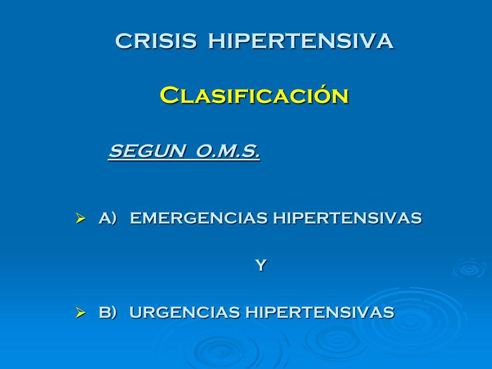 CRISIS HIPERTENSIVA Clasificación A) EMERGENCIAS HIPERTENSIVAS A) EMERGENCIAS HIPERTENSIVAS Y B) URGENCIAS HIPERTENSIVAS B) URGENCIAS HIPERTENSIVAS SE