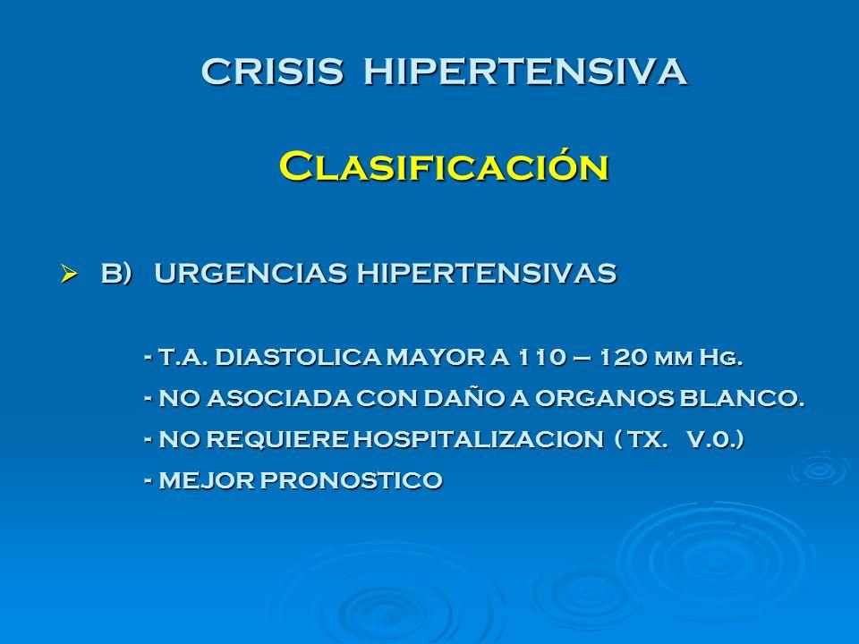 CRISIS HIPERTENSIVA Clasificación B) URGENCIAS HIPERTENSIVAS B) URGENCIAS HIPERTENSIVAS - T.A. DIASTOLICA MAYOR A 110 – 120 mm Hg. - NO ASOCIADA CON D