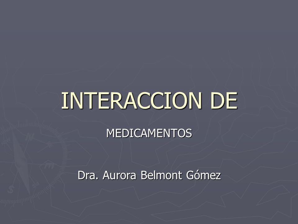 Medidas ante la interacción de medicamentos Interrumpir la administración de los medicamentos que interactúan Interrumpir la administración de los medicamentos que interactúan Modificar la posología de uno o más fármacos, después de evaluar las concentraciones plasmáticas de cada uno de ellos Modificar la posología de uno o más fármacos, después de evaluar las concentraciones plasmáticas de cada uno de ellos Mantener la interacción, si el beneficio supera con claridad el riesgo potencial de la interacción Mantener la interacción, si el beneficio supera con claridad el riesgo potencial de la interacción