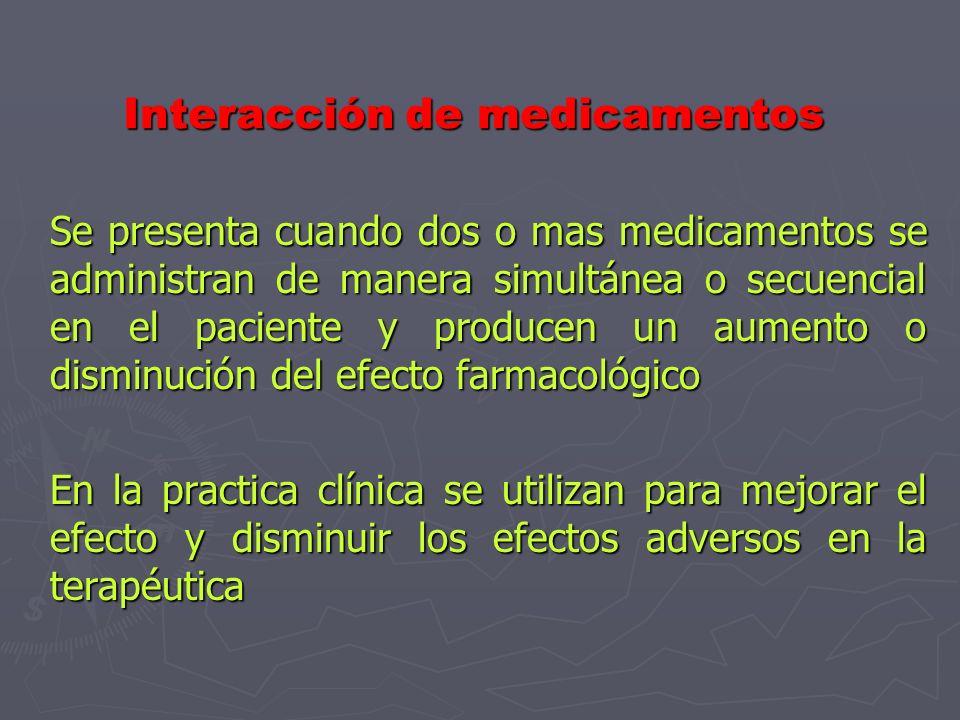 Interacción de medicamentos Se presenta cuando dos o mas medicamentos se administran de manera simultánea o secuencial en el paciente y producen un aumento o disminución del efecto farmacológico En la practica clínica se utilizan para mejorar el efecto y disminuir los efectos adversos en la terapéutica