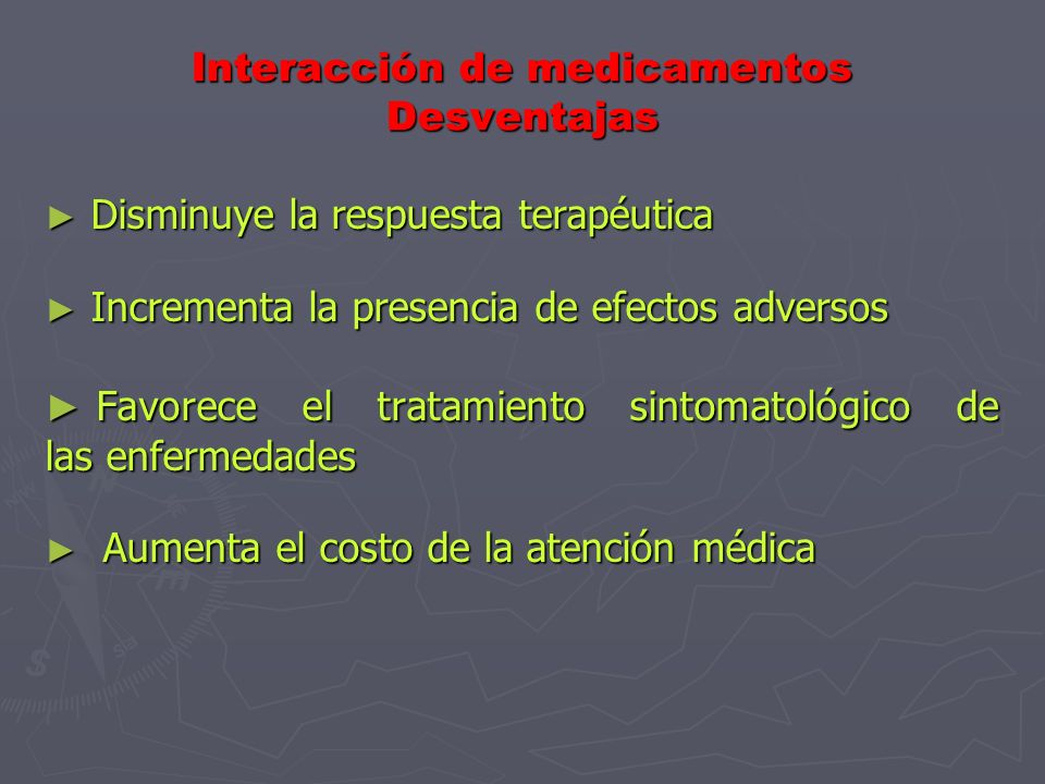 Medidas ante la interacción de medicamentos Interrumpir la administración de los medicamentos que interactúan Interrumpir la administración de los med