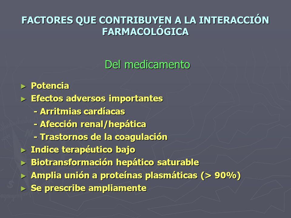 FACTORES QUE CONTRIBUYEN A LA INTERACCIÓN FARMACOLÓGICA Del medicamento Del medicamento Potencia Potencia Efectos adversos importantes Efectos adversos importantes - Arritmias cardíacas - Arritmias cardíacas - Afección renal/hepática - Afección renal/hepática - Trastornos de la coagulación - Trastornos de la coagulación Indice terapéutico bajo Indice terapéutico bajo Biotransformación hepático saturable Biotransformación hepático saturable Amplia unión a proteínas plasmáticas (> 90%) Amplia unión a proteínas plasmáticas (> 90%) Se prescribe ampliamente Se prescribe ampliamente