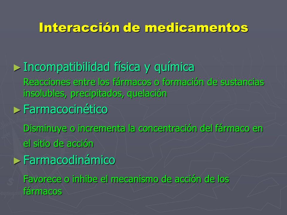 Interacción de medicamentos Incompatibilidad física y química Incompatibilidad física y química Reacciones entre los fármacos o formación de sustancias insolubles, precipitados, quelación Farmacocinético Farmacocinético Disminuye o incrementa la concentración del fármaco en el sitio de acción Farmacodinámico Farmacodinámico Favorece o inhibe el mecanismo de acción de los fármacos