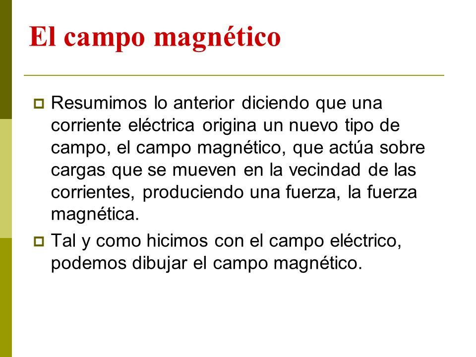 El campo magnético Resumimos lo anterior diciendo que una corriente eléctrica origina un nuevo tipo de campo, el campo magnético, que actúa sobre carg