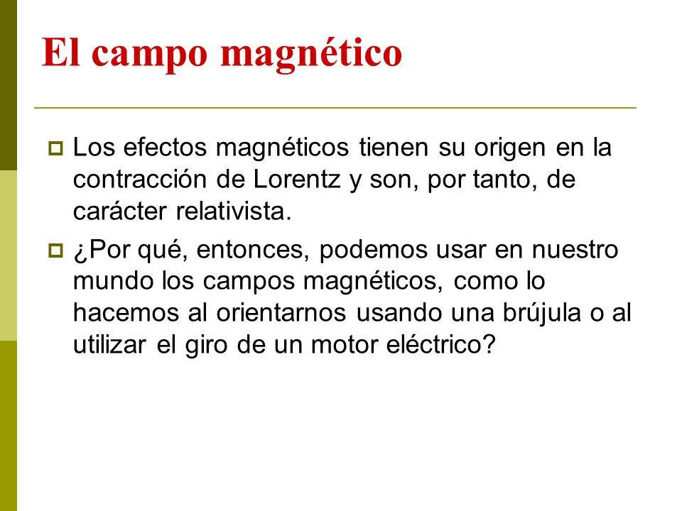 El campo magnético Los efectos magnéticos tienen su origen en la contracción de Lorentz y son, por tanto, de carácter relativista. ¿Por qué, entonces,
