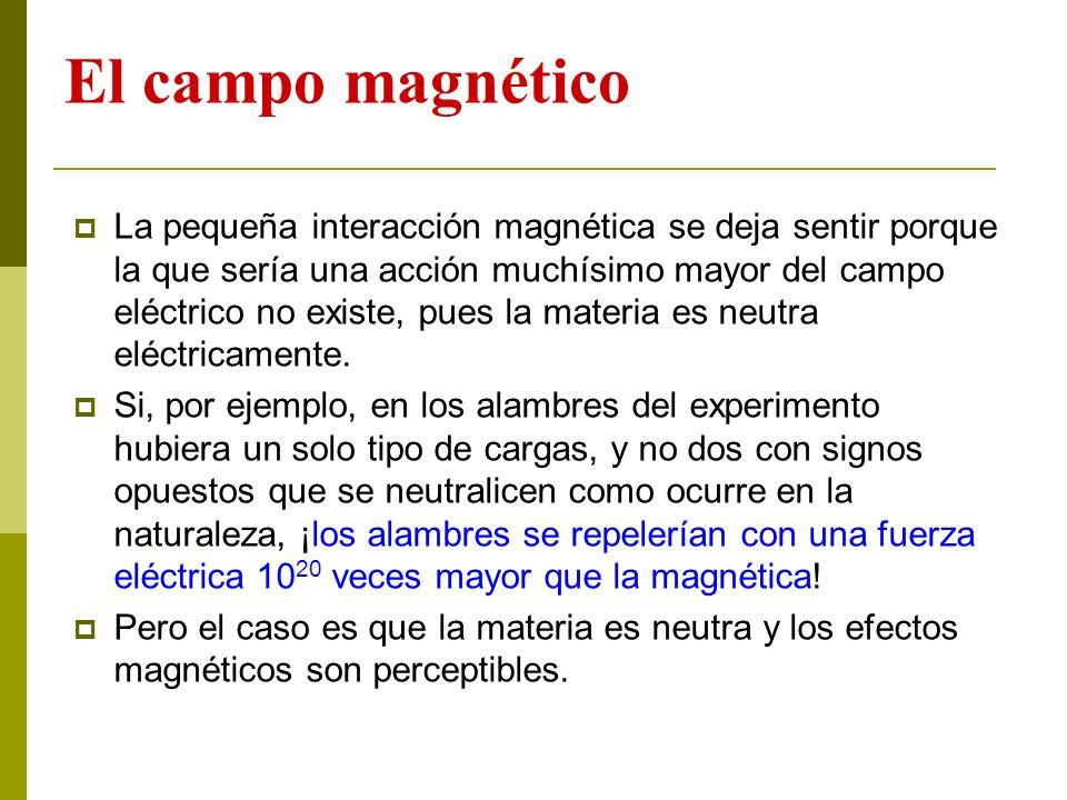 El campo magnético La pequeña interacción magnética se deja sentir porque la que sería una acción muchísimo mayor del campo eléctrico no existe, pues