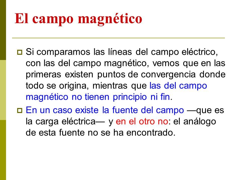 El campo magnético Si comparamos las líneas del campo eléctrico, con las del campo magnético, vemos que en las primeras existen puntos de convergencia