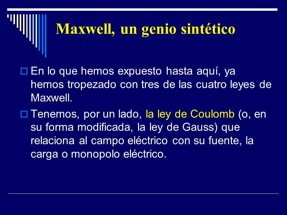 Maxwell, un genio sintético En lo que hemos expuesto hasta aquí, ya hemos tropezado con tres de las cuatro leyes de Maxwell. Tenemos, por un lado, la