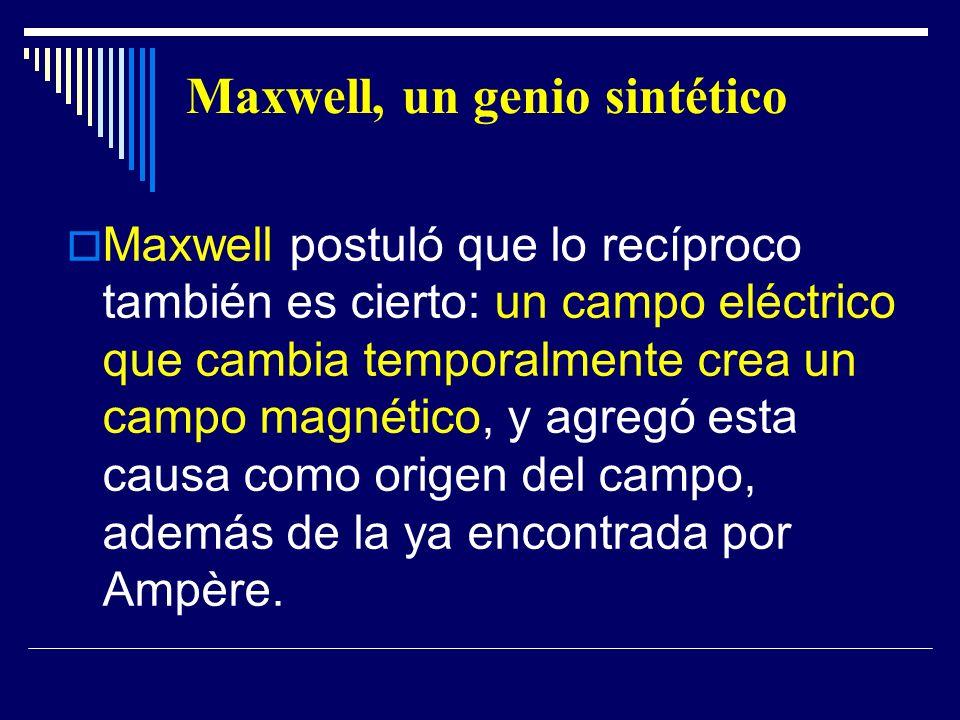 Maxwell, un genio sintético Maxwell postuló que lo recíproco también es cierto: un campo eléctrico que cambia temporalmente crea un campo magnético, y
