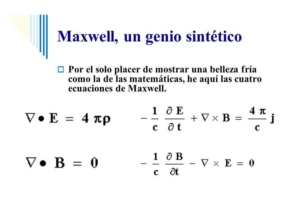 Maxwell, un genio sintético Por el solo placer de mostrar una belleza fría como la de las matemáticas, he aquí las cuatro ecuaciones de Maxwell.