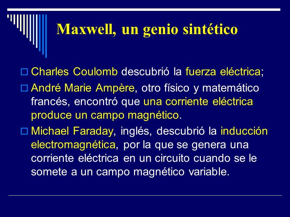 Maxwell, un genio sintético Charles Coulomb descubrió la fuerza eléctrica; André Marie Ampère, otro físico y matemático francés, encontró que una corr
